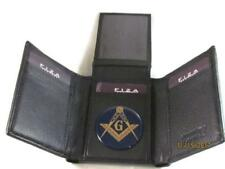 MASON MASONIC BLACK HIGH GRAIN QUALITY LEATHER TRIFOLD WALLET NEW