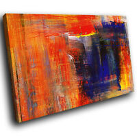 AB669 Orange Blue Yellow Modern Abstract Canvas Wall Art Large Picture Prints
