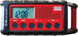 Midland AM/FM NOAA Emergency Crank Radio with Solar Power Panel SOS Flashlight