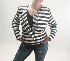 Banana Republic Striped Blazer Assymetrical Zipper Off Center Plus Size Women 14