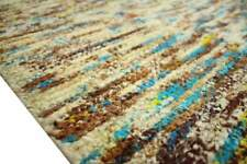 Rug Kelim 200x285 Cm Cotton and Viscose Hand Woven Blue Brown Beige