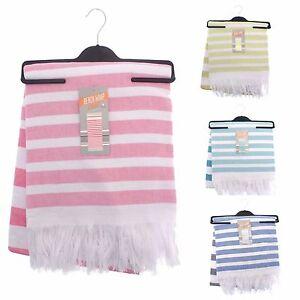 Beach Towel Throw Wrap Egyptian cotton toweling reverse colourful stripes 85x160