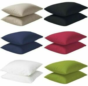 Ikea Dvala Pack of 2 Cotton Pillow Cases 50 x 80cm 7 Colors Choice NEW