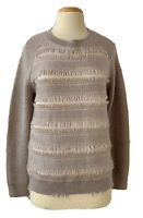 HAUTE HIPPIE Womens Size S 100% Merino Knit Wool Fringe Pullover Sweater Taupe