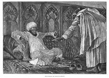 Mulai Hassan il Sultano del Marocco-antica stampa 1887