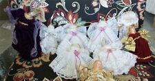14 lot of cloth silky & lace angel christmas ornaments wood etc