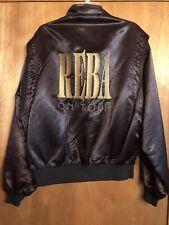 Vintage Reba McEntire On Tour Crew Satin Jacket Black Embroidered Large