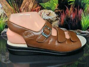 Propet Breeze W0001 Brown Leather Comfort Footbed Sandal Womens Size 9.5W Wide