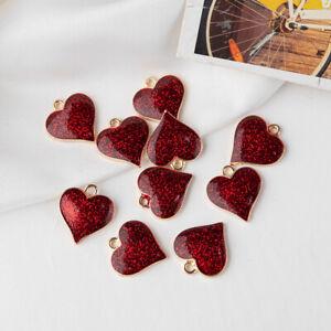10pcs/lot lovely small heart shape charm enamel pendant diy earrings necklace