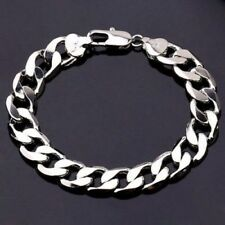 Heavy Mens 12MM-20cm 925Sterling Silver Curb Link Chain Bracelet Thick Chunky