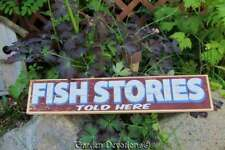 Fish Stories Told Here 17 inch Wooden Sign Primitive Cabin Decor Made in USA
