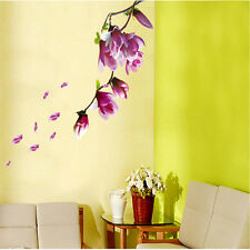 DIY Magnolia Flower Floral Wall Sticker Decal Mural Art Room Removable Romantic