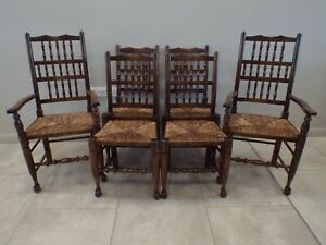 Set of 6 Six Antique Style Beech Dining Chairs