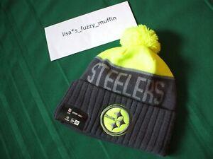 Pittsburgh Steelers New Era knit pom hat beanie On Field NEW neon UPRIGHT YELLOW