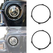 2Pcs 7'' Round Headlight Mounting Black Bracket Ring for 97-06 Jeep Wrangler TJ