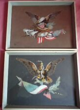 Vintage United States of America Eagle Feather Mosaic Framed Pictures