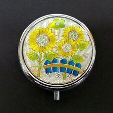 Round Pill Box Ducks Dragonfly Lotus Flower Print Design Silver Metal Mirror New