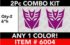 "TRANSFORMERS DECEPTICON 2 Pc 6"" Combo DECAL STICKER ANY 1 COLOR"
