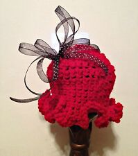 Crochet Baby Hat Red with Black and White Bow