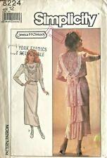 1980's VTG Simplicity Misses' Dress Jessica McClintock Pattern 8224 Size 12 UNC