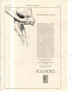 1923 Rolls Royce Spirit of Ecstasy Original ad from Town & Country - Rare