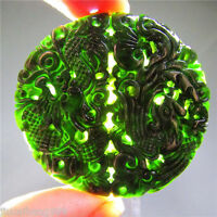 Nice natural black/Green jade hand-carved pendant Dragon&phoenix With necklace