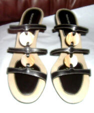 Naturalizer Womens Leather Heels Sz 8 M Black Strappy Kitten Sandals Shoes CUTE!