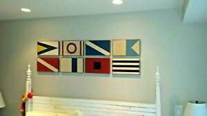 Set of 8 Pottery Barn Wooden Marine Mahogany Plaques Wall Art Nautical - NICE!