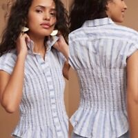 Maeve Anthropolgie Womens Blue Striped Fitted Short Sleeve Button Front Blouse S