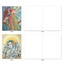M3970 Winged Women: 10 Assorted Blank Note Cards w/Envelopes. stationery
