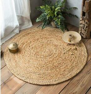 Indian Braided Floor Jute Rugs Boho Decor Hand Woven Chindi Natural Round Rugs