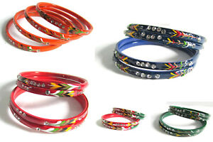 Indian Traditional Hand Paint Bangles Bollywood Ethnic CZ Costume Wear Jewelry