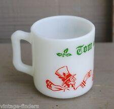 Old Vintage Hazel Atlas White Milk Glass Christmas Cheer Pattrn Egg Nog Mug Cup