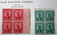 US #WS7 & W8 War Savings Stamps Plate No. Blocks of 4 MNH Double PNB