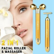 Electric Quartz Jade Roller Facial Eye Skin 2 In 1 Anti-Aging Vibration Massager