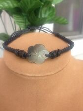 Flower Shell Adjustable Black Anklet/Bracelet. Beach and Nautical. Made in Bali.