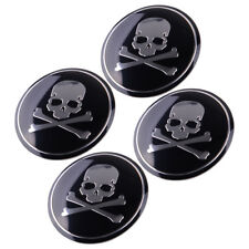 4x Car SUV Metal Cross Bone Silver Skull Badge Sticker Wheel Center Hub Cap 56mm