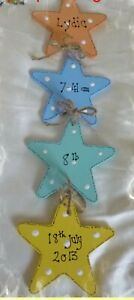 Personalised new baby gift, wooden star plaque sign, new, nursery decor