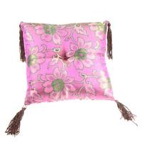 Singing Bowl Cushion Pillow 8in Handmade Magenta Pink Silk Brocade Nepal A075-02