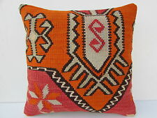 "Turkish Kilim Kelim Rug Pillow Cover 16"" X 16"" Kilim Rug Pillow"