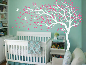 Nursery tree Wall Decals White Wall stickers Large tree Mural tattoo 047