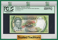 "TT PK 3a-CS1 1974 SWAZILAND 5 EMALANGENI ""SPECIMEN"" PCGS 68 PPQ SUPERB GEM NEW"