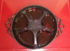 Rare Vintage Bon Chef Large Black Aluminum Serving Tray With Glass Inserts
