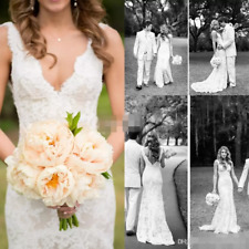 2020 Sexy V Neck A Line Wedding Dress Mermaid Lace Appliques Bridal Gown 2-16