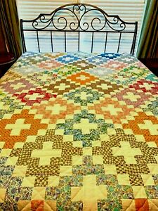CUSTOM MADE PATCHWORK QUILT BRIGHT COLORS 100% COTTON HAND QUILTED