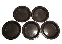 """SET (5) Camping Plates 9.75"""" Metal Enamel Spatter / Speckled, Black Rimmed Dish"""