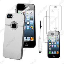 Housse Coque Silver-Line chromé Blanc Apple iPhone SE 5S 5+Mini Stylet+3 Films