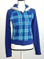 Le Tigre Womens Hoodie Jacket Plaid Full Zipper Long Sleeves Pockets Size Small