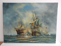 CHENPAT358 warship sail boat battle on sea art hand-painted oil painting canvas