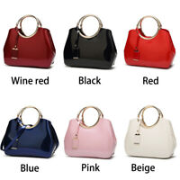 Women Patent Leather Tote Glossy Bright Handbags Lady Purse Tote Messenger Gifts